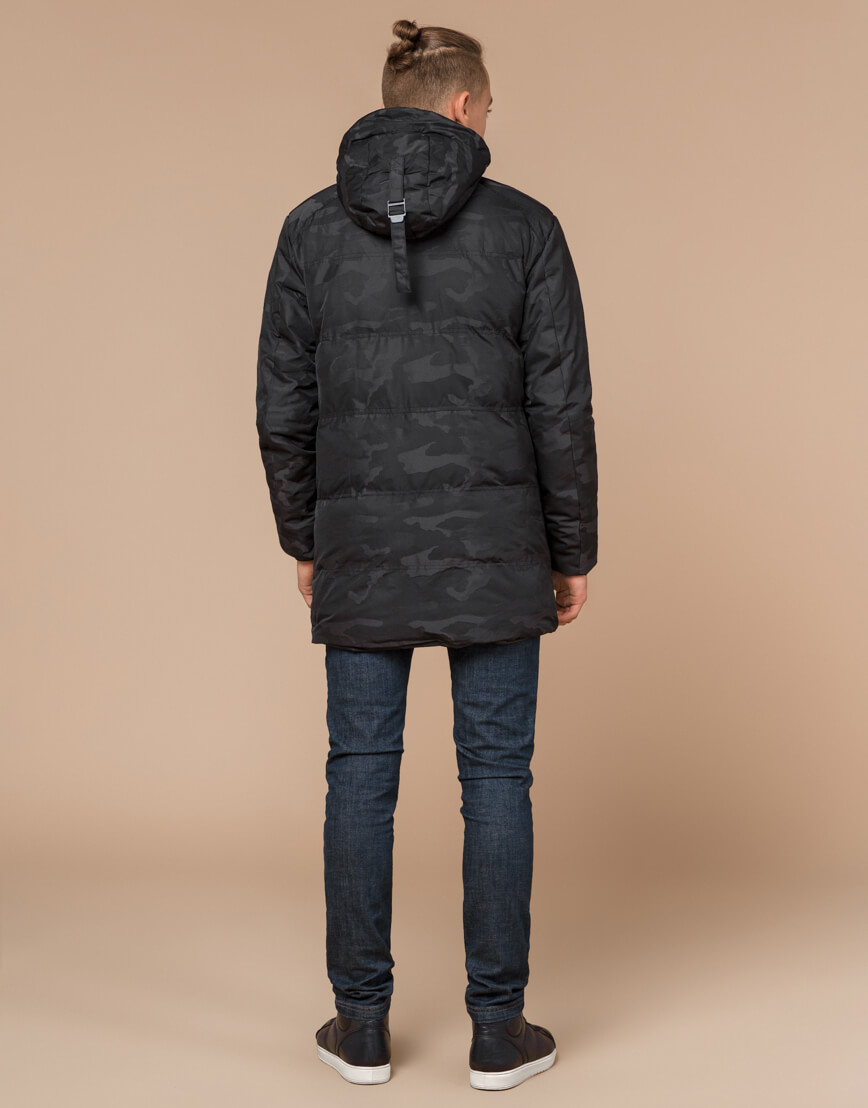 Черная фирменная дизайнерская куртка зимняя модель 25060 фото 4