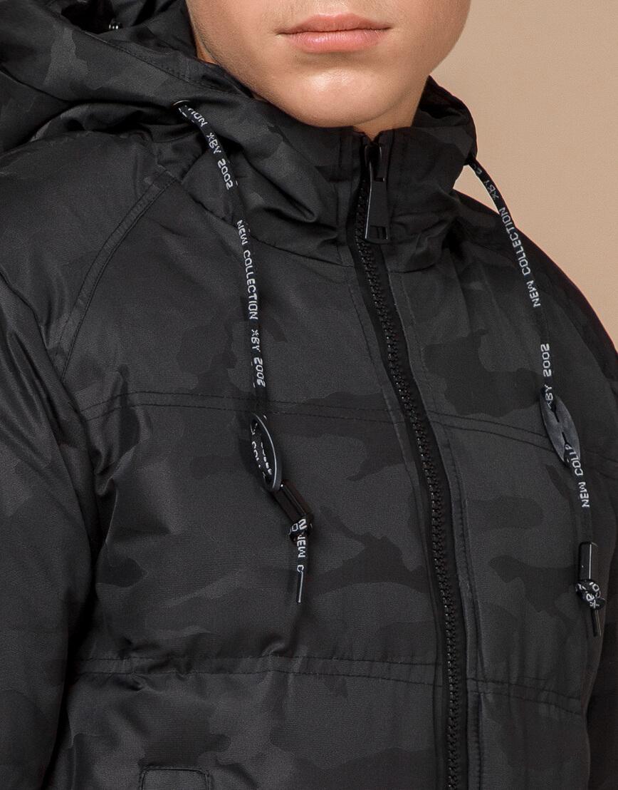 Черная фирменная дизайнерская куртка зимняя модель 25060 фото 5