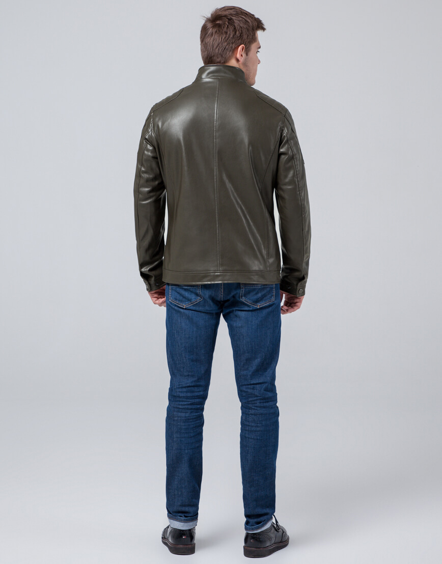 Осенне-весенняя куртка цвета хаки трендовая модель 3645 фото 4
