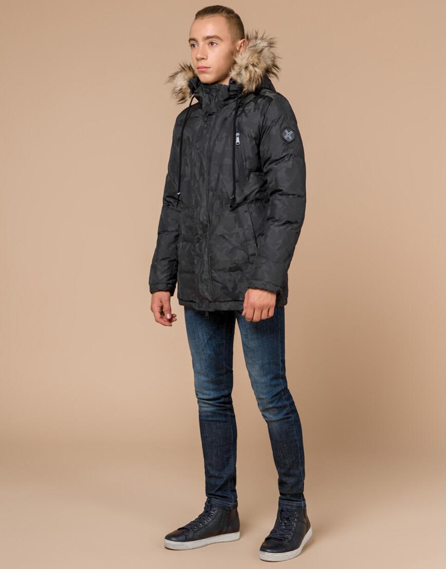 Темно-серая подростковая куртка дизайнерская модель 25110 фото 3