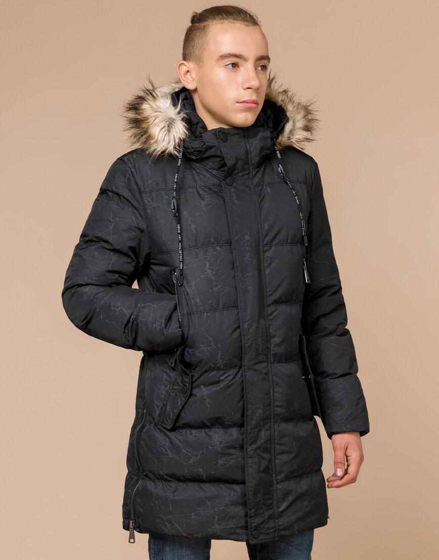 Высококачественная дизайнерская куртка черная зимняя модель 25070
