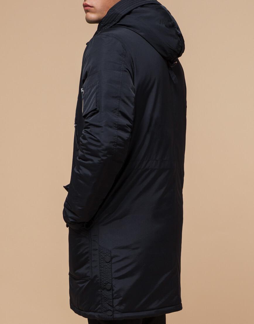 Черно-синяя зимняя парка мужская модель 90520 оптом
