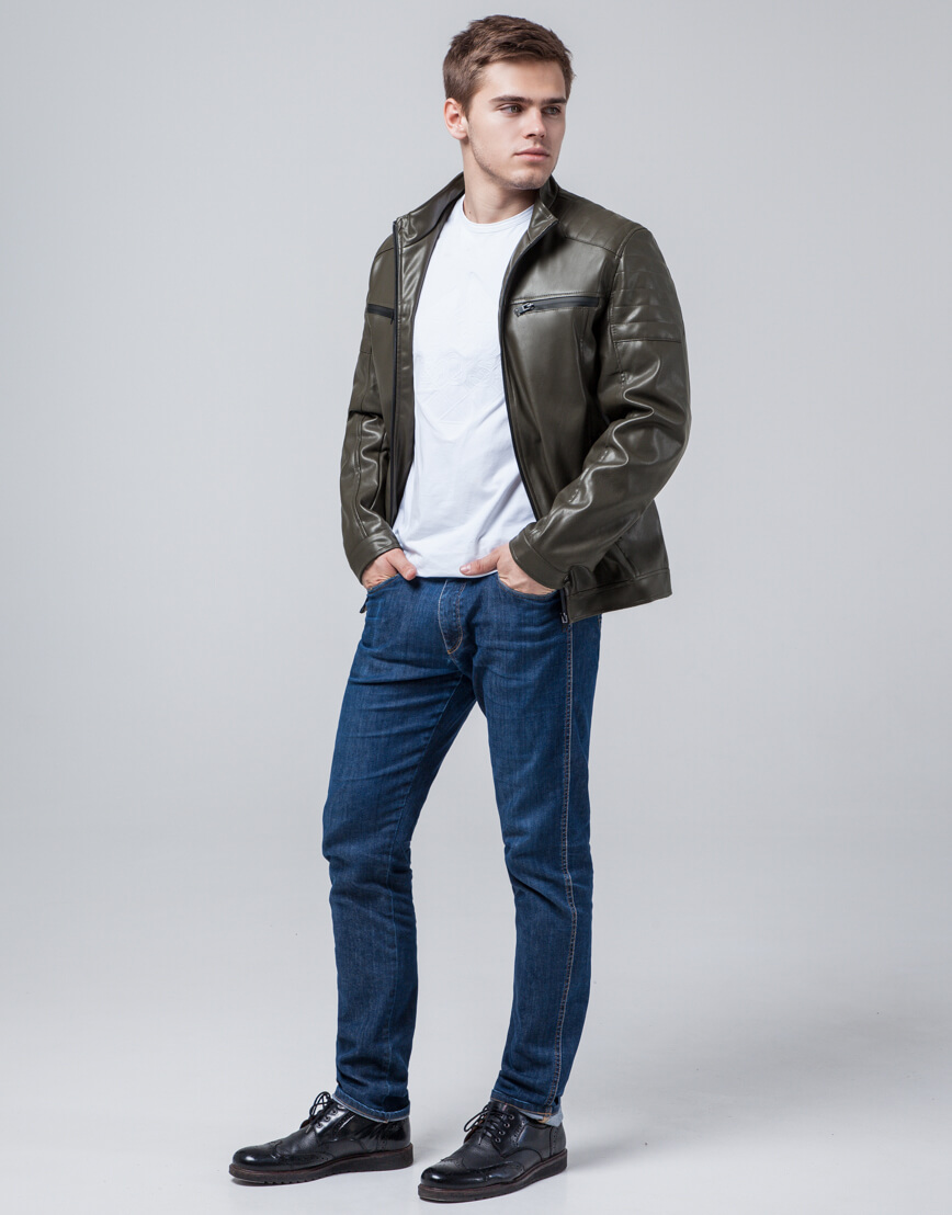 Осенне-весенняя куртка цвета хаки трендовая модель 3645 фото 3