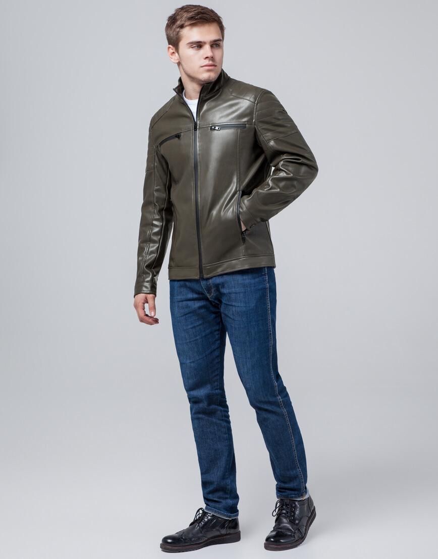 Осенне-весенняя куртка цвета хаки трендовая модель 3645 фото 2