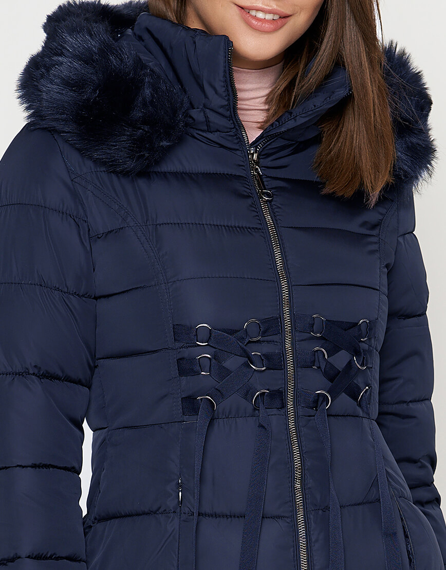 Куртка с опушкой женская синяя модель 1816 фото 4