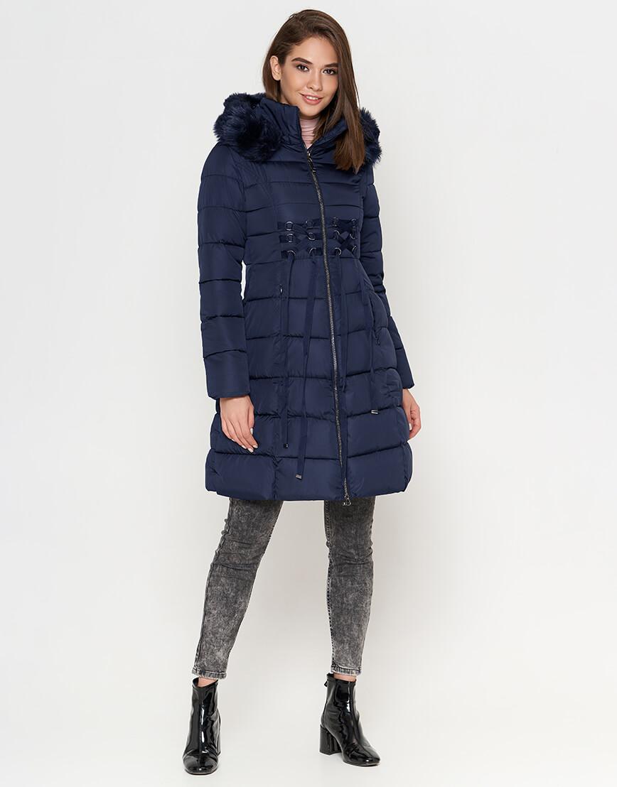 Куртка с опушкой женская синяя модель 1816 фото 2