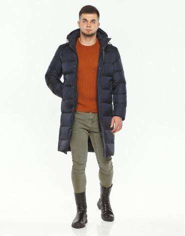 Длинная практичная куртка темно-синяя модель 28610 фото 1