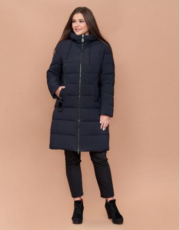 Темно-синяя оригинальная женская зимняя куртка большого размера модель 25095 фото 1