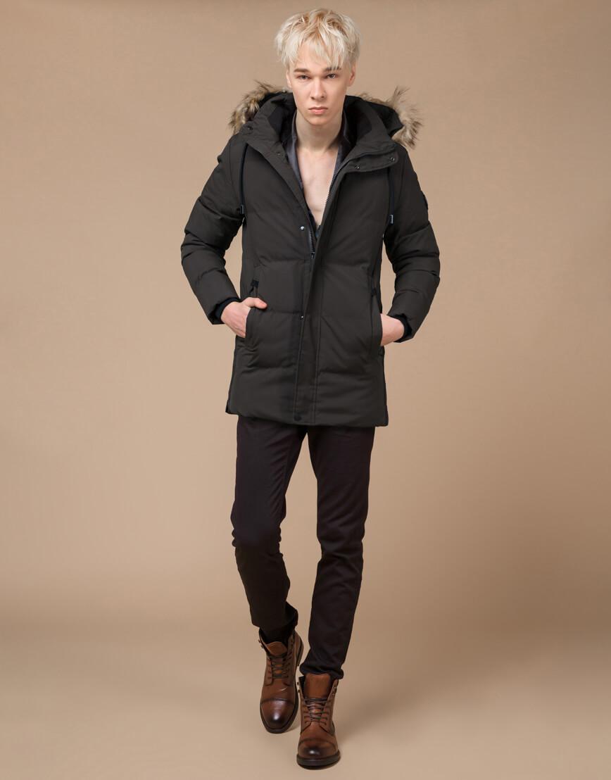 Куртка модная зимняя цвета кофе модель 25090 фото 2