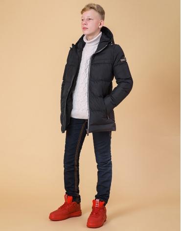 Комфортная детская куртка цвет графит-серый модель 65122 оптом