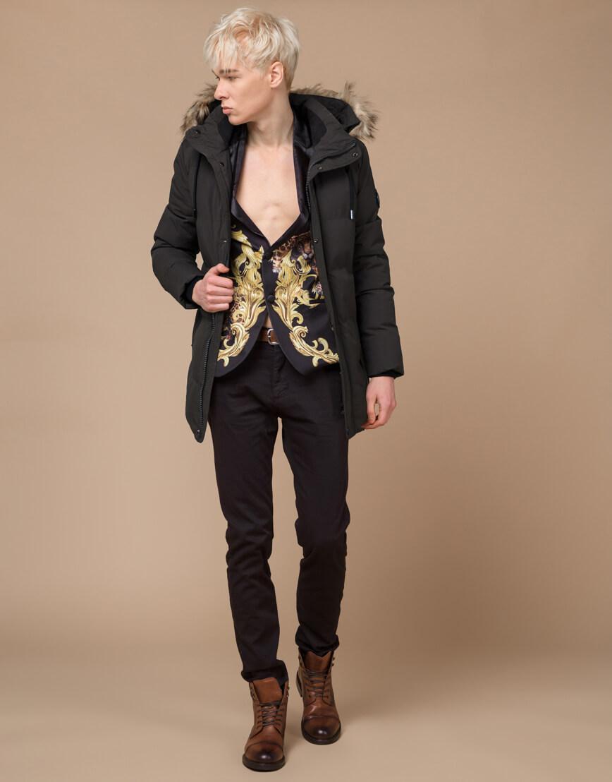 Куртка модная зимняя цвета кофе модель 25090 фото 3