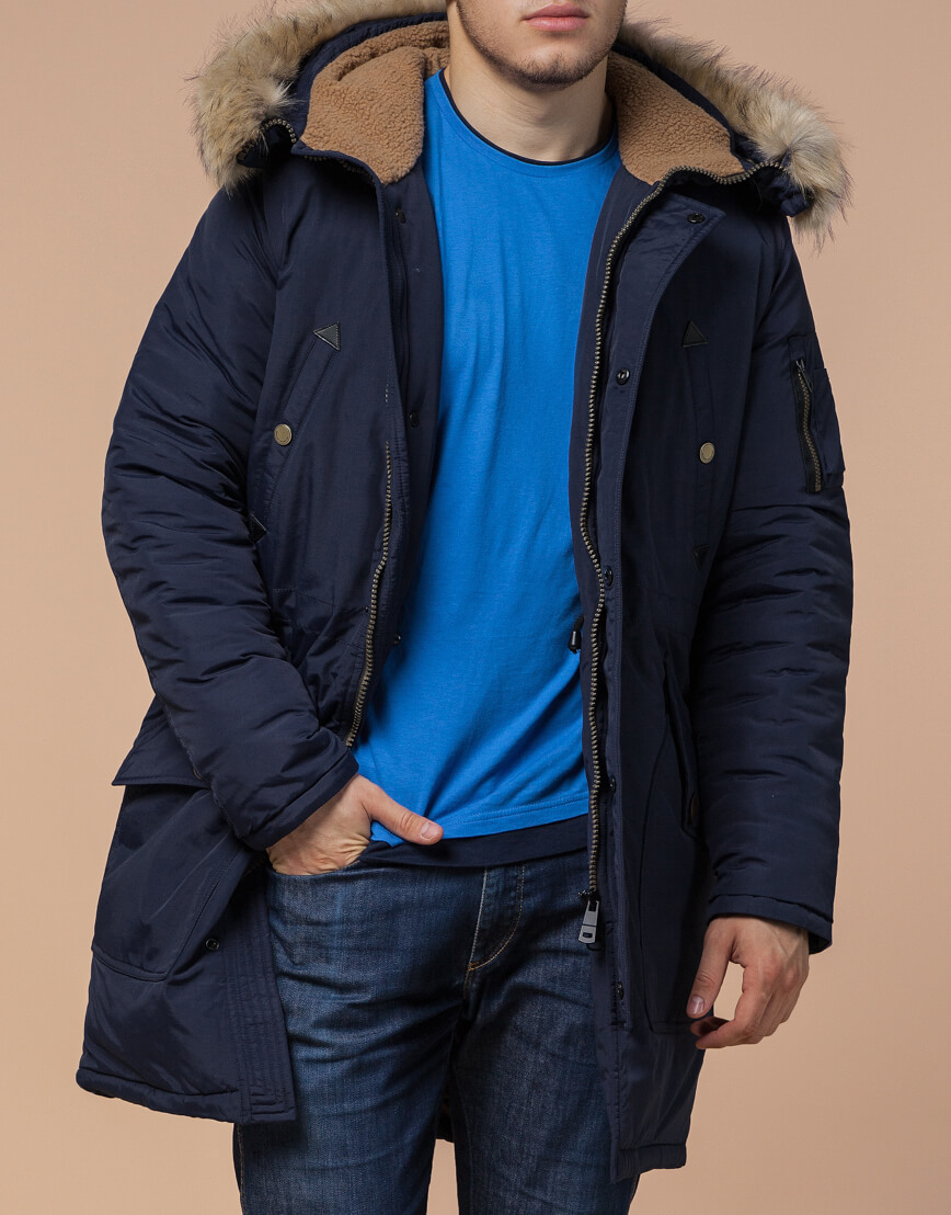 Зимняя синяя парка для мужчин модель 91127 оптом