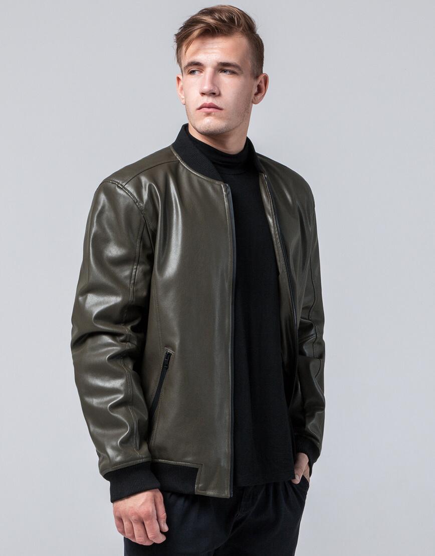 Куртка осенне-весенняя удобная мужская цвета хаки модель 4055 фото 2
