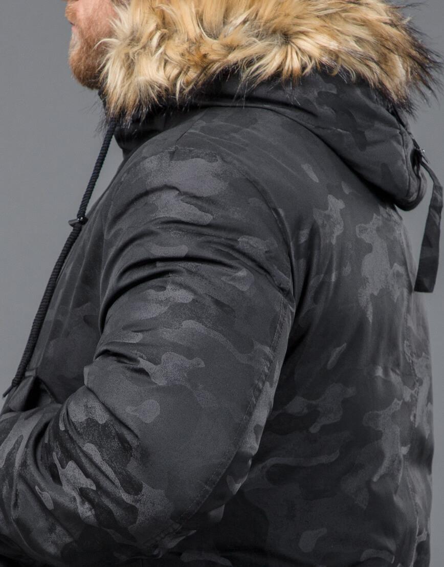 Дизайнерская зимняя черная модная парка модель 72315 оптом