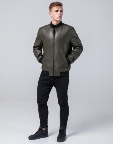 Куртка осенне-весенняя удобная мужская цвета хаки модель 4055 фото 1