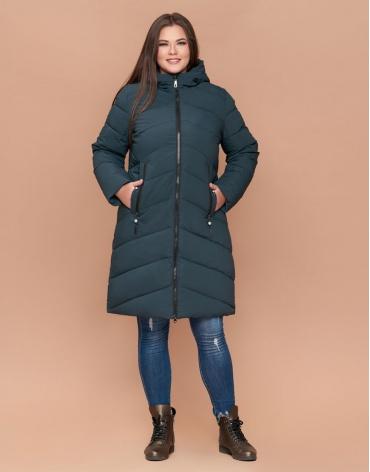 Бирюзовая женская зимняя куртка большого размера модель 25015