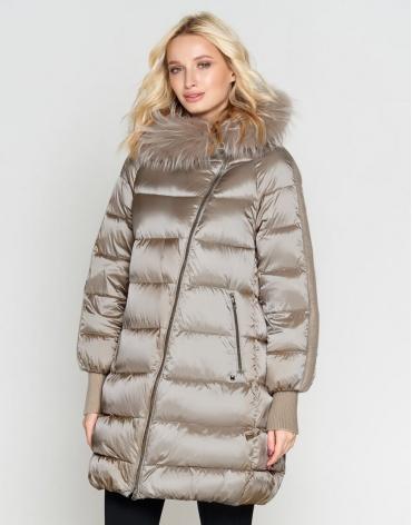 Бежевая куртка женская качественного пошива модель 9727