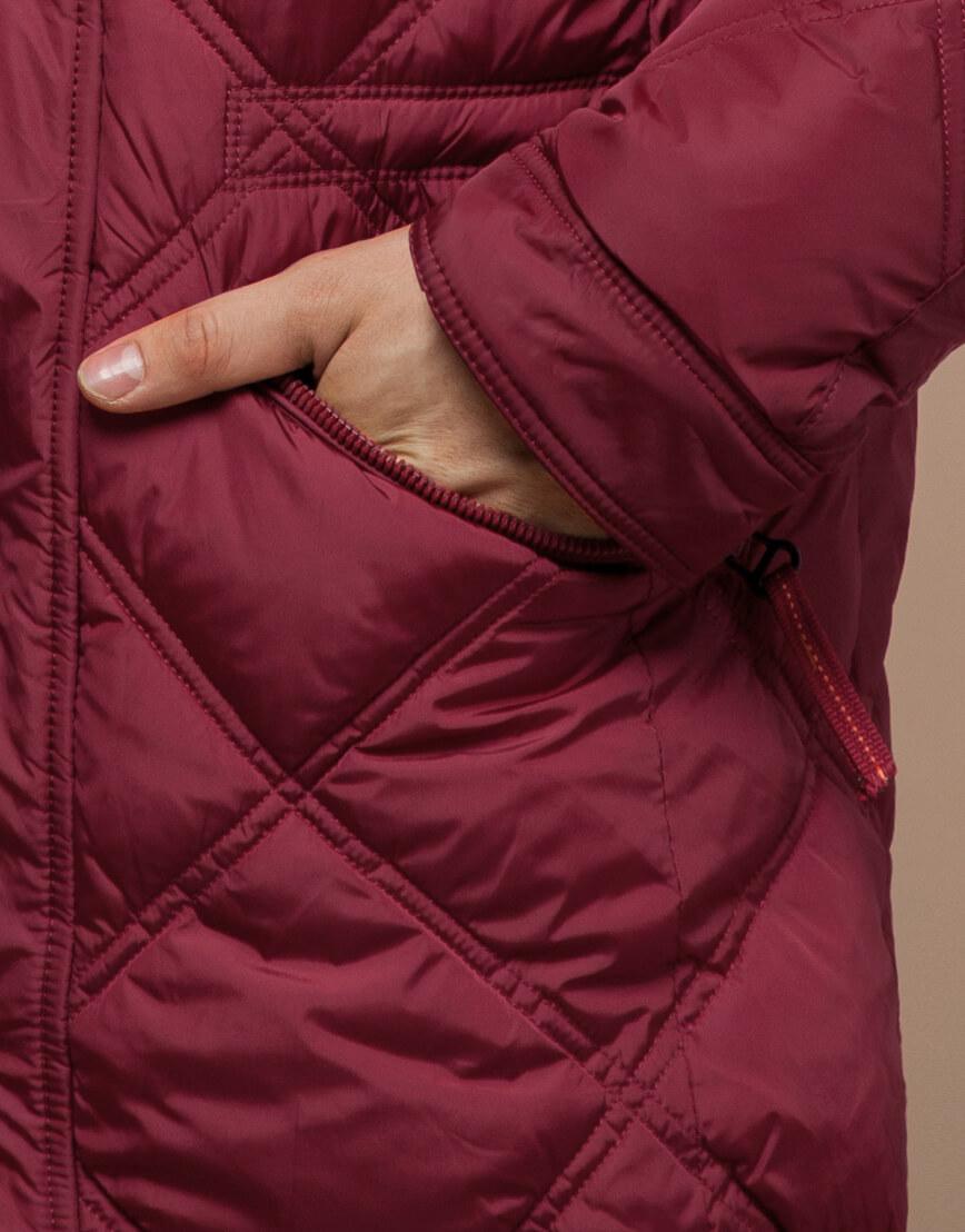 Дизайнерская куртка красного цвета модель 12481 фото 5