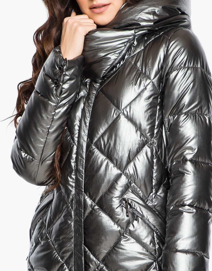 Зимний женский воздуховик Braggart комфортный цвет темное серебро модель 31031 фото 7
