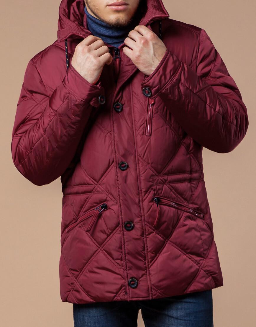 Дизайнерская куртка красного цвета модель 12481 фото 2