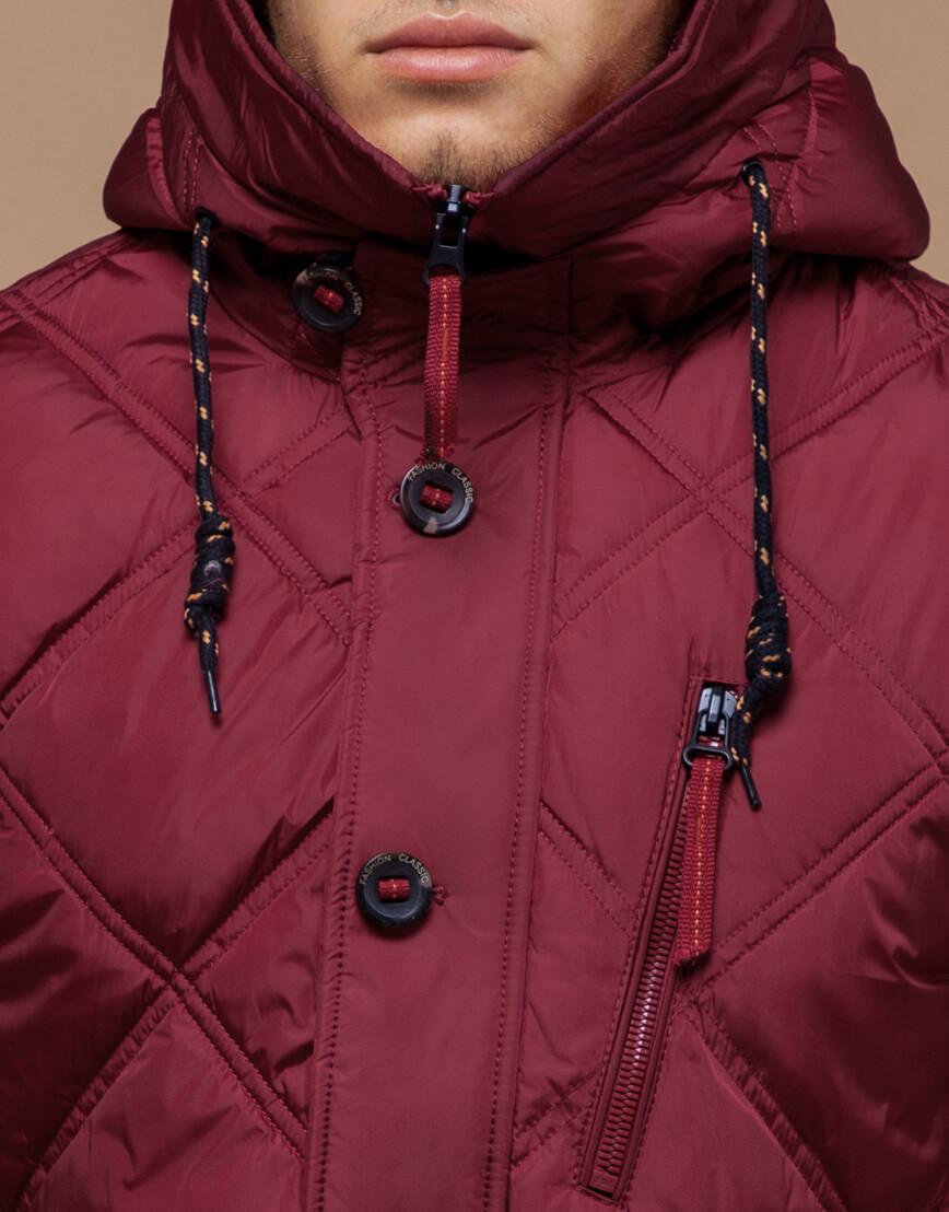 Дизайнерская куртка красного цвета модель 12481 фото 4