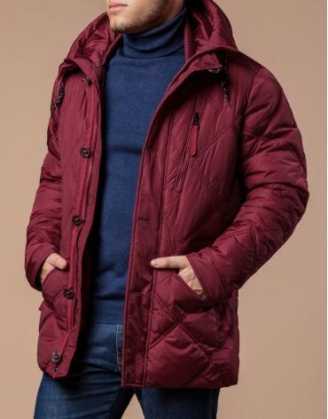 Дизайнерская куртка красного цвета модель 12481 фото 1