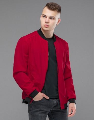 Куртка бомбер красная модная модель 18428