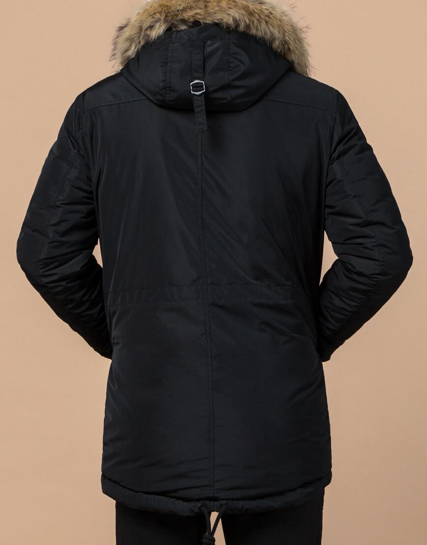 Парка черного цвета мужская на зиму модель 27830 оптом