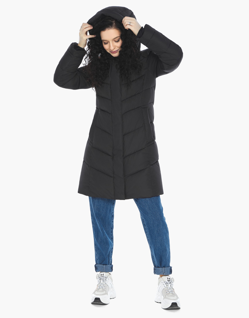 Куртка пуховик Youth черный молодежный женский комфортный модель 21025 фото 4