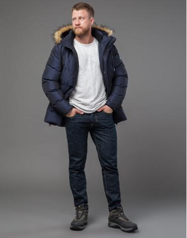 Качественная темно-синяя дизайнерская куртка модель 71550 оптом