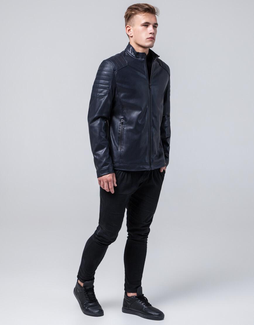 Темно-синяя осенне-весенняя куртка оригинального дизайна модель 4129 фото 2