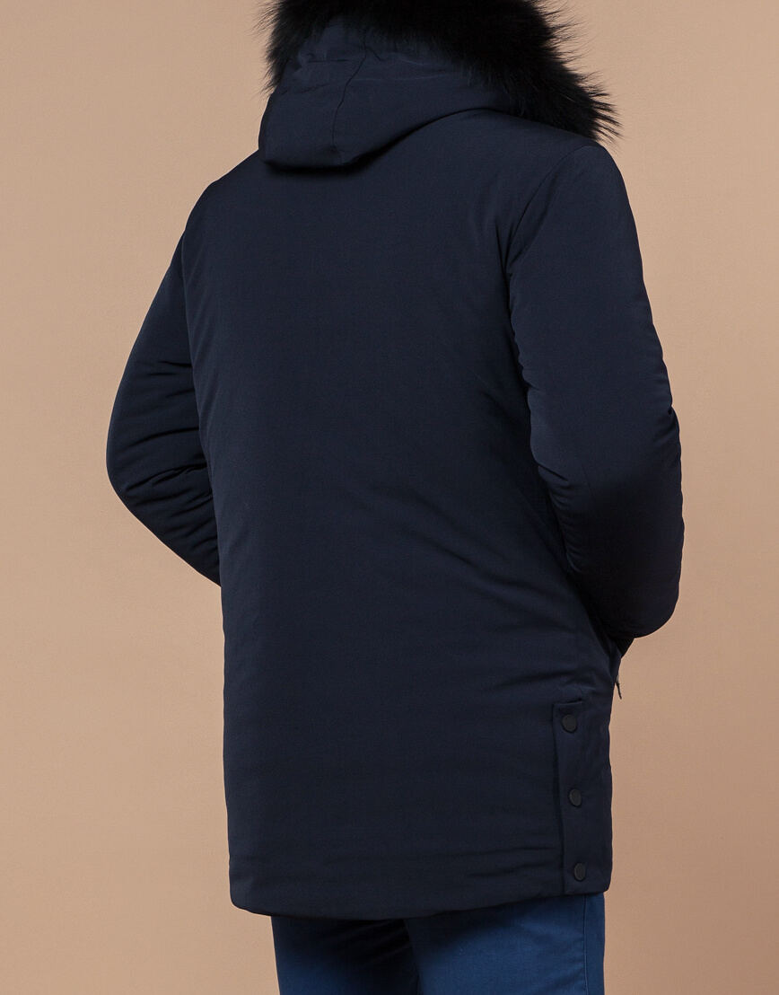 Зимняя темно-синяя парка мужская модель 9255 оптом