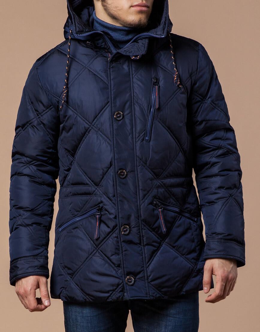 Современная куртка темно-синего цвета модель 12481 фото 1