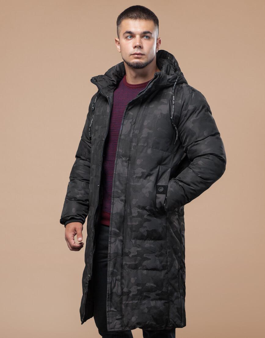 Комфортная зимняя куртка черная дизайнерская модель 25100 фото 3
