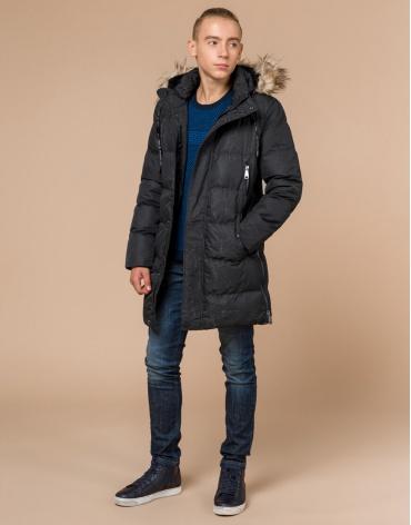 Подростковая стильная черная дизайнерская куртка модель 25070