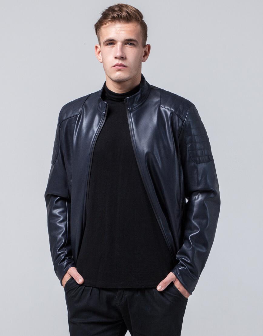 Темно-синяя осенне-весенняя куртка оригинального дизайна модель 4129 фото 3