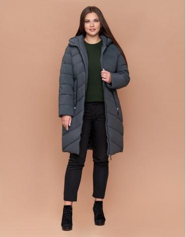 Зимняя модная серо-зеленая женская куртка большого размера модель 25015