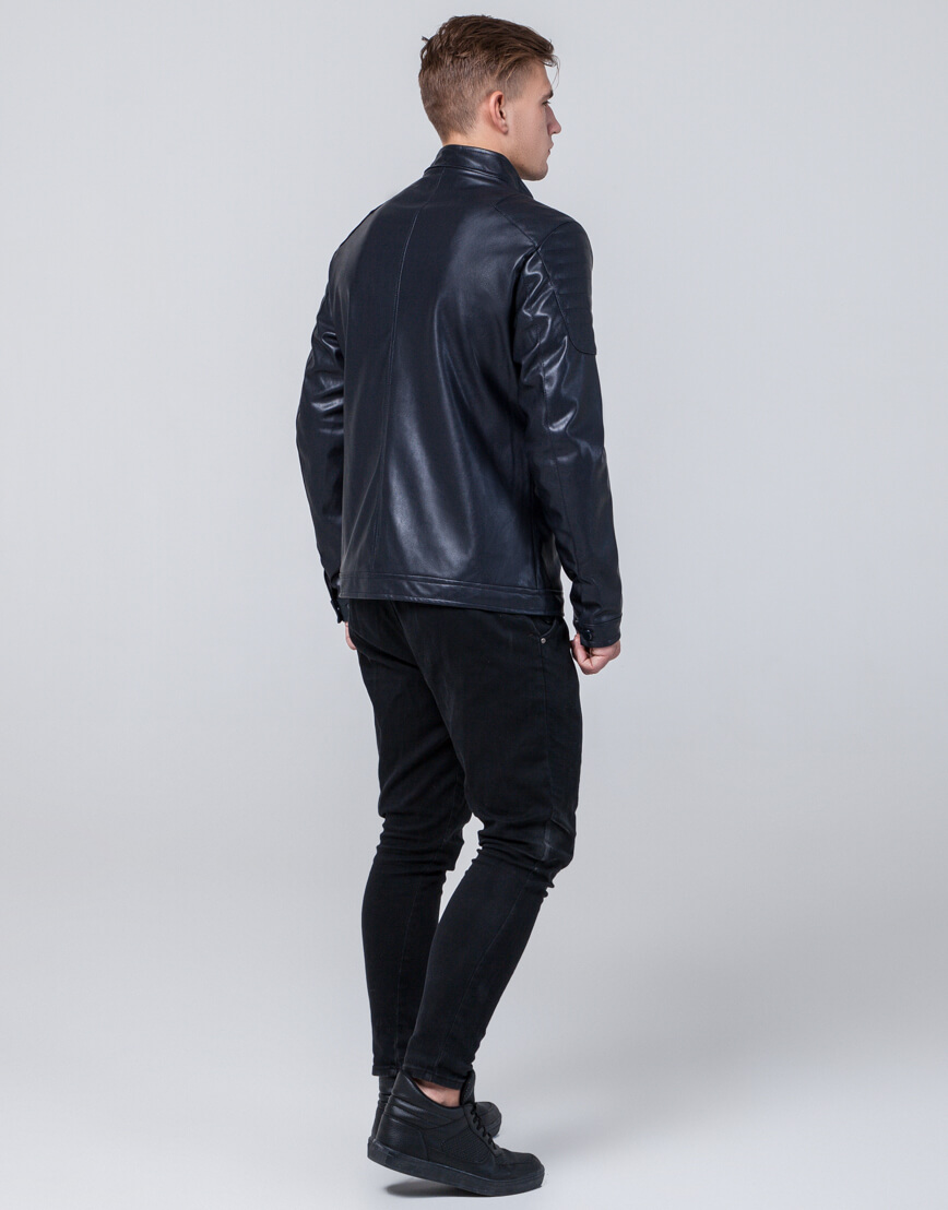 Темно-синяя осенне-весенняя куртка оригинального дизайна модель 4129 фото 4