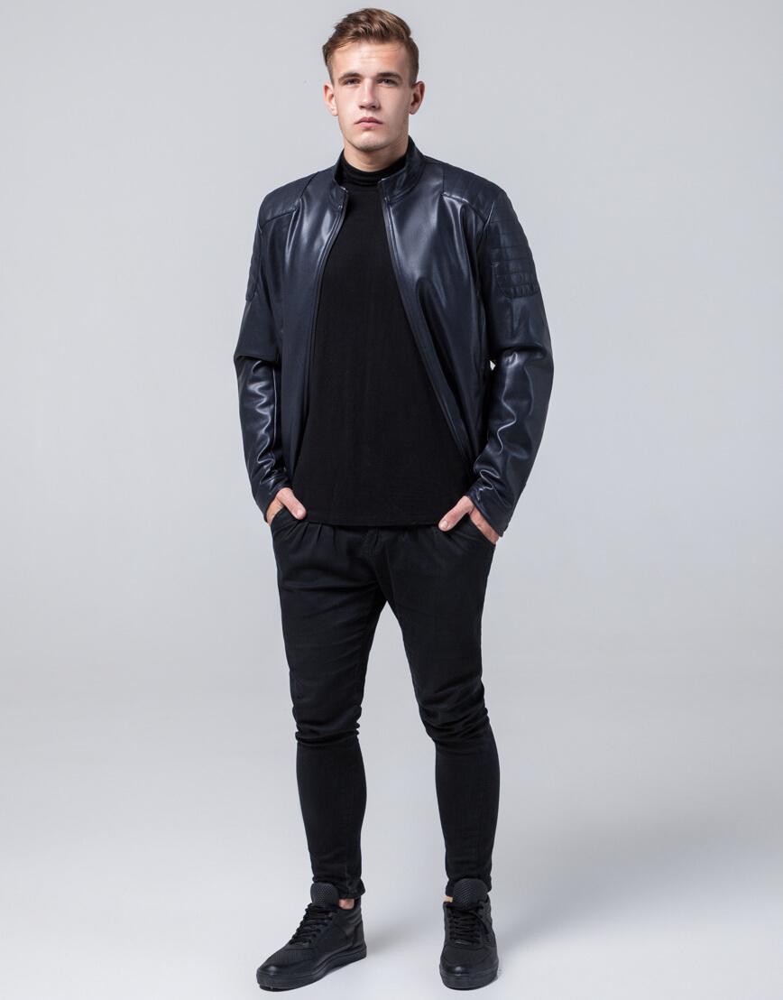 Темно-синяя осенне-весенняя куртка оригинального дизайна модель 4129 фото 1