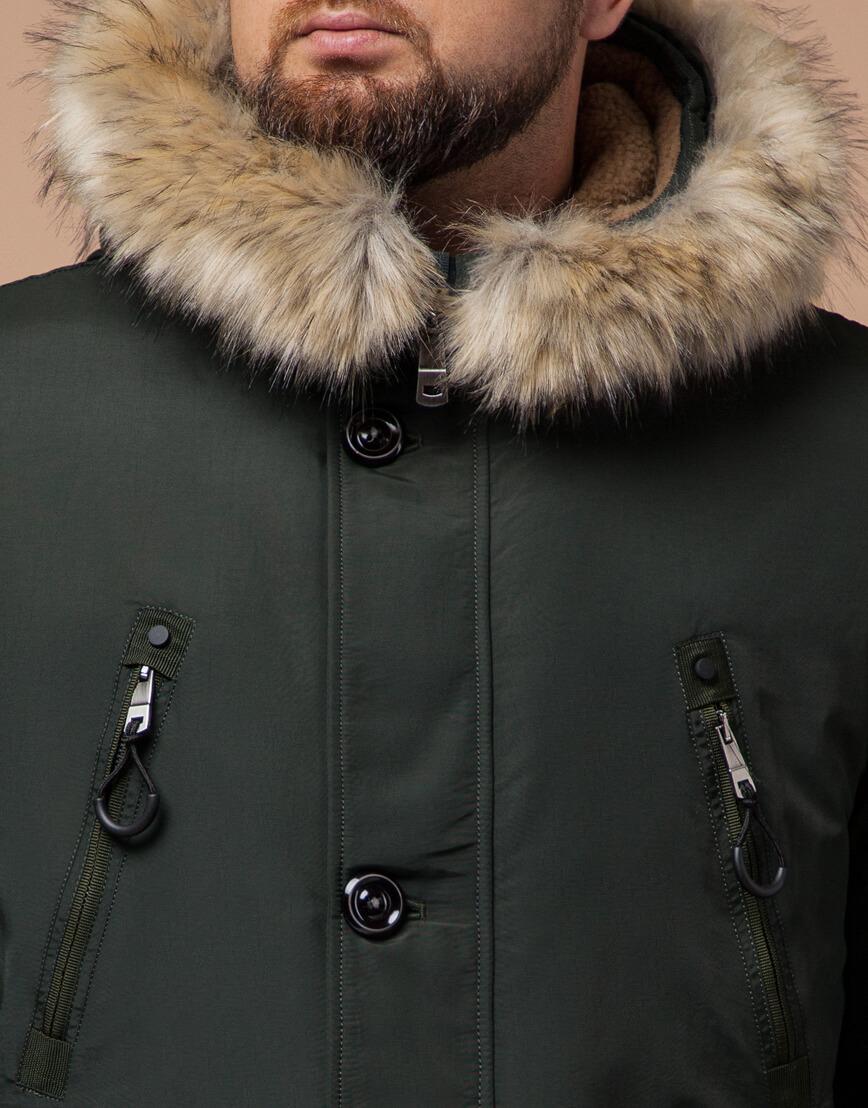 Парка для мужчин зимняя цвета хаки модель 91660 оптом фото 4