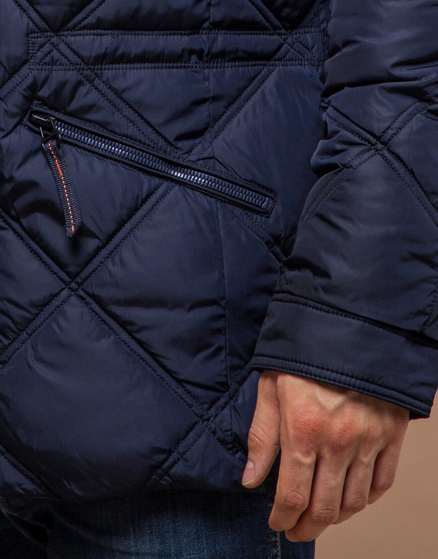 Современная куртка темно-синего цвета модель 12481 фото 5