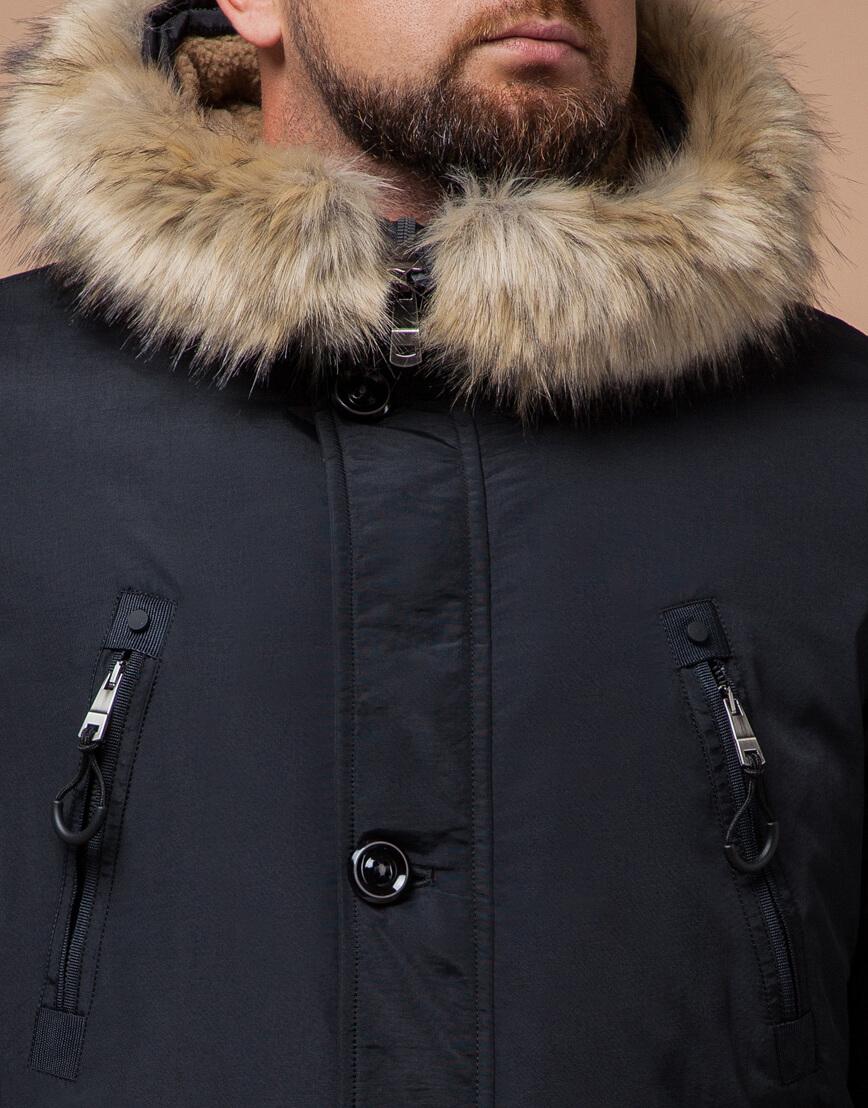 Мужская черно-синяя парка на зиму модель 91660 оптом фото 4