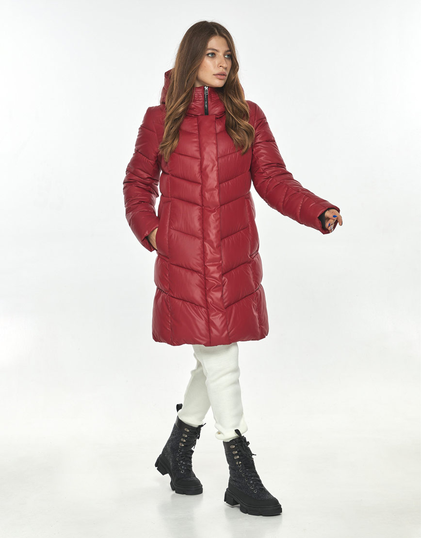 Куртка комфортная красная женская большого размера Ajento 22857 фото 2