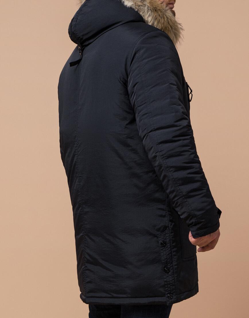 Мужская черно-синяя парка на зиму модель 91660 оптом фото 3