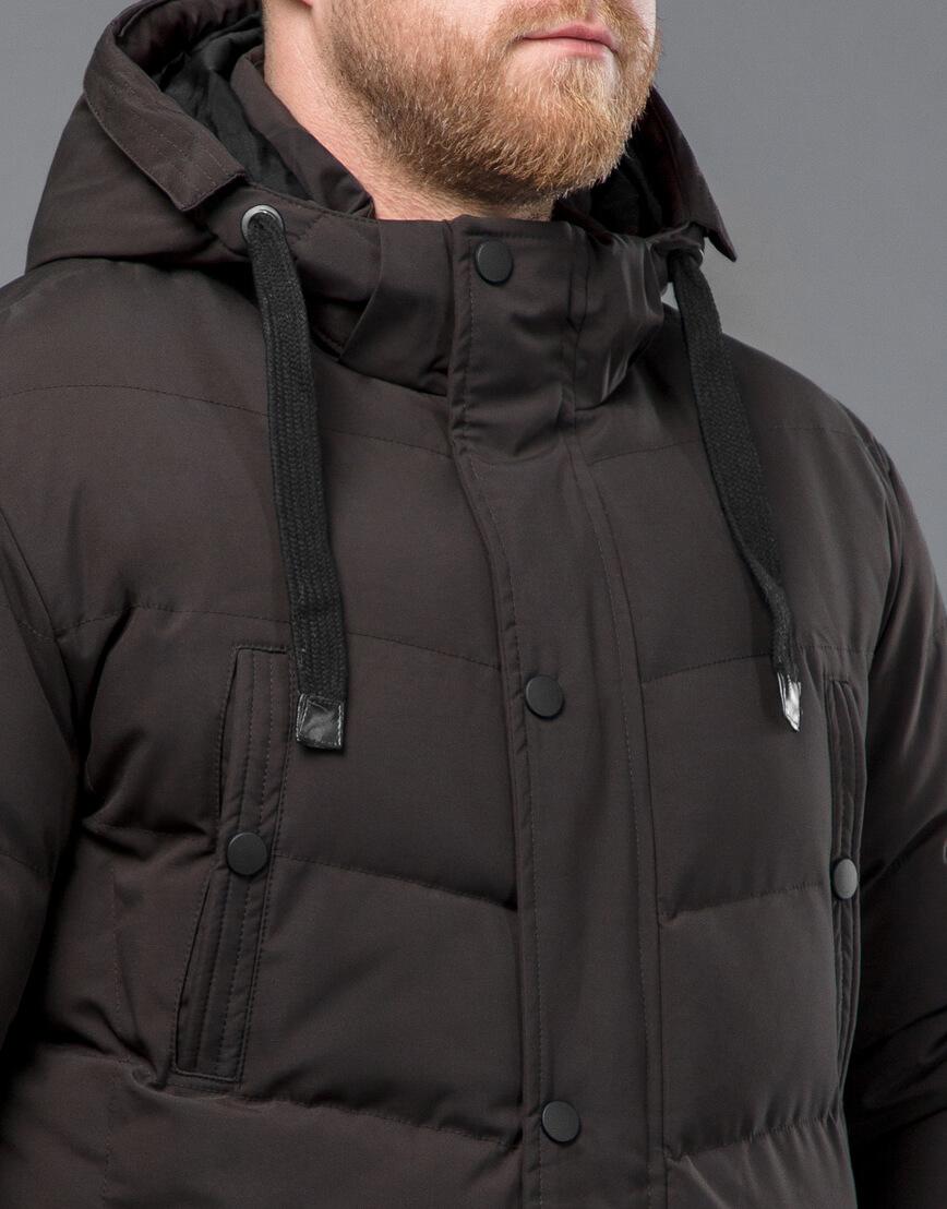Куртка цвета кофе зимняя короткая модель 52235 фото 5