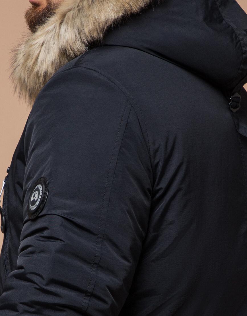 Мужская черно-синяя парка на зиму модель 91660 оптом фото 6