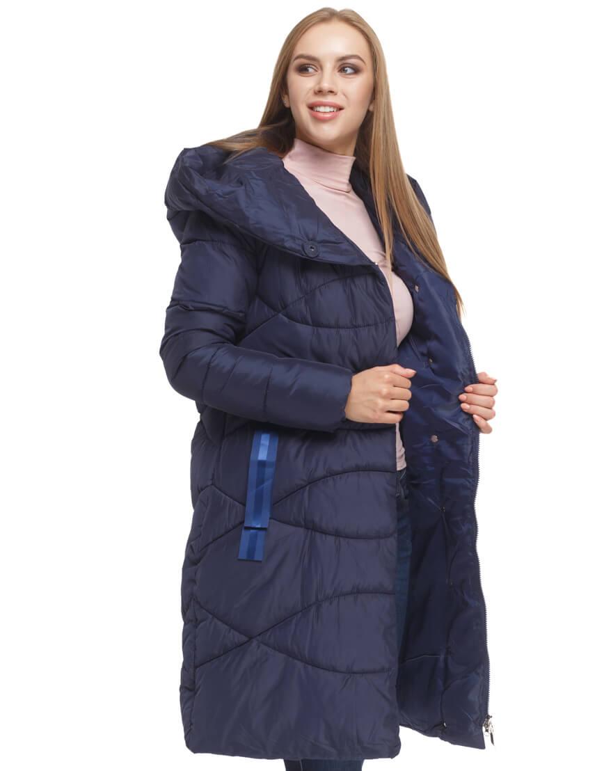 Женская синяя куртка с капюшоном модель 5058 фото 3