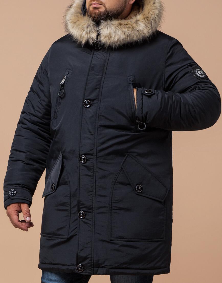 Мужская черно-синяя парка на зиму модель 91660 оптом фото 1