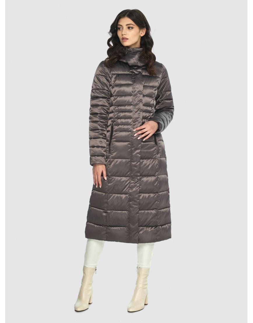 Длинная капучиновая куртка женская Vivacana 8140/21 фото 5