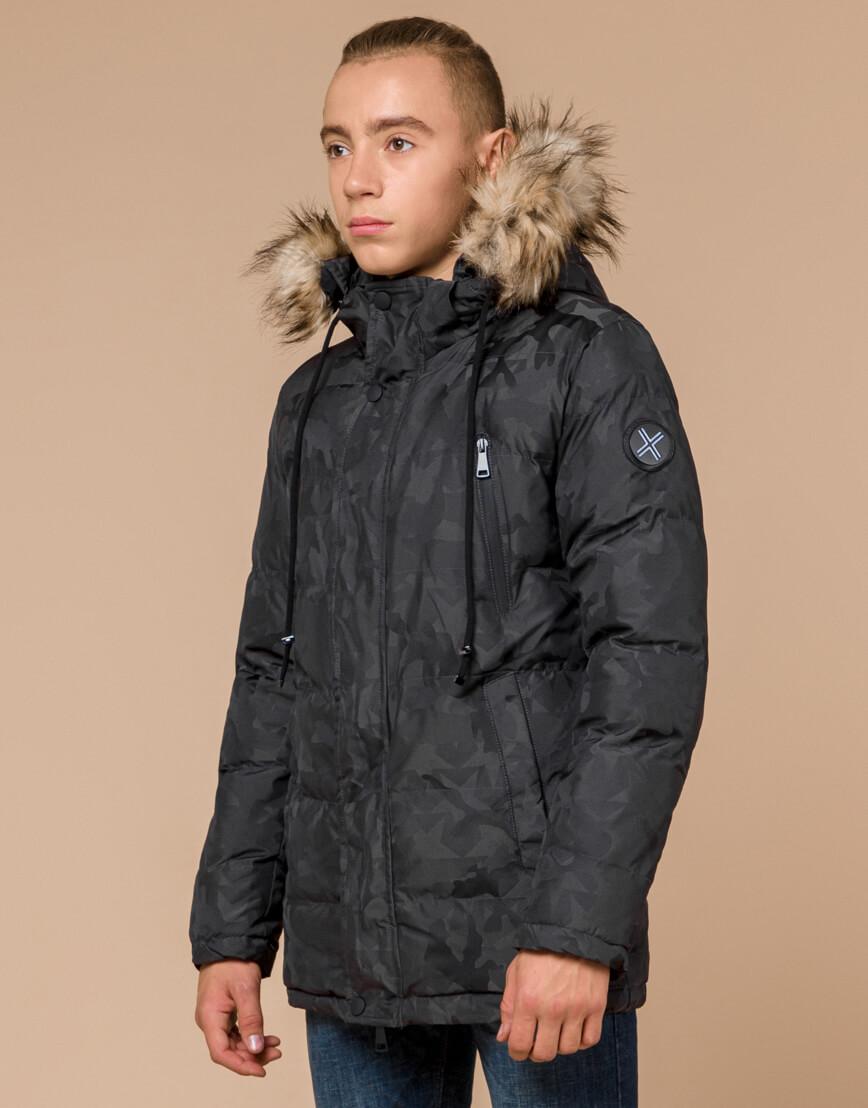 Дизайнерская куртка зимняя темно-серая модель 25110 фото 3